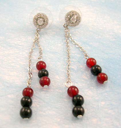 wholesale beaded jewelry supply red and black beaded earring