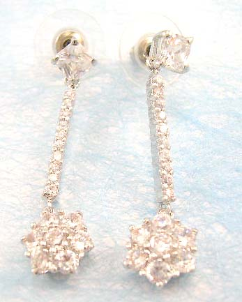 wholesale fashion cz jewelry distribute clear cz earring in brass base and rhodium plated