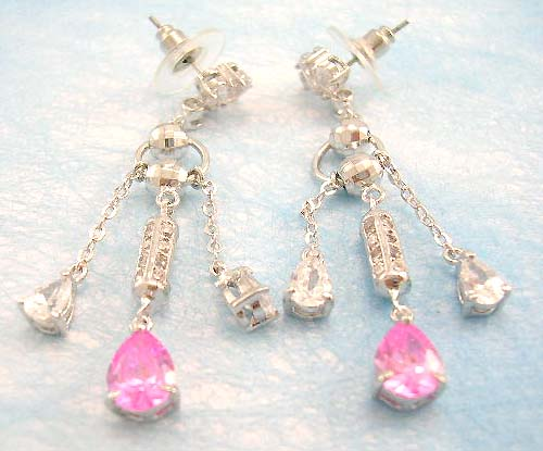 designer jewelry wholesale distribute pink and clear cz earring in brass base and plated with rhodium