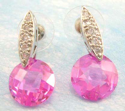 cz earring accessory for pink lover wholesale supply pink cubic zirconia rounded earring