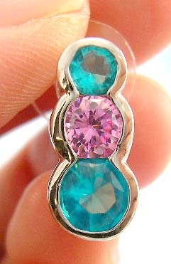 online cubic zirconia jewelry shopping wholesale distribute pink and aqua cz earring