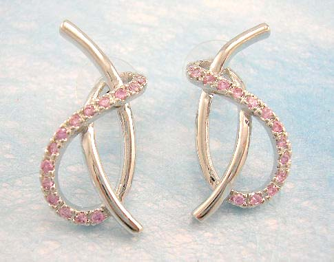wholesale cubic zirconia jewelry distribute pink cz earring with brass base