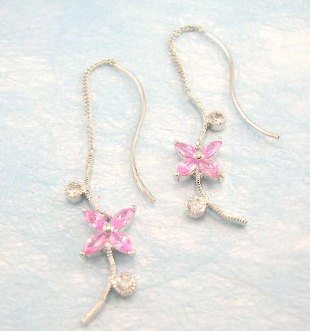 online cz wholesale shop distribute flower shaped threader cz earring