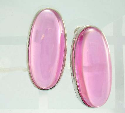 online display wholesale distribute pink oval cz earring