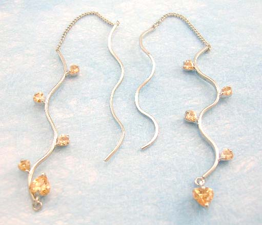 wholesale online shop distribute orange/blue/pink/purple threader cz earring
