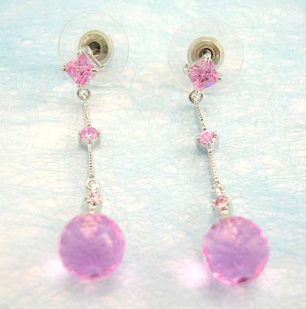 jewelry wholesale online shop manufactured rounded cz dangle earring in pink