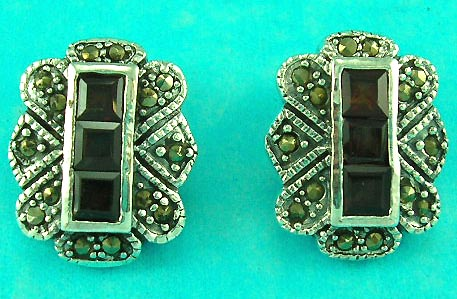 wholesale jewelry costume fashion distribute sterling silver red and green marcasite stone earring