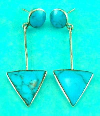 wholesale fashion jewelry delivers sterling silver triangle turquoise gemstone sterling silver earring