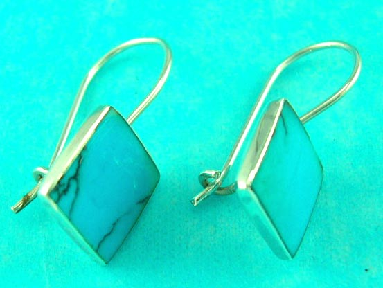 online fashion wholesale jewelry delivers sterling silver square turquoise gemstone earring