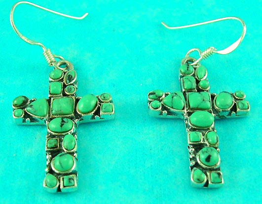 antique jewelry wholesale presents sterling silver green gemstone cross earring