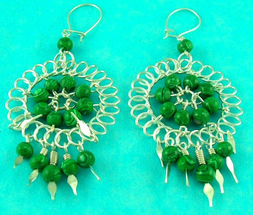 auction fashion costume jewelry 925 sterling silver manufactured wild style green gemstone earring