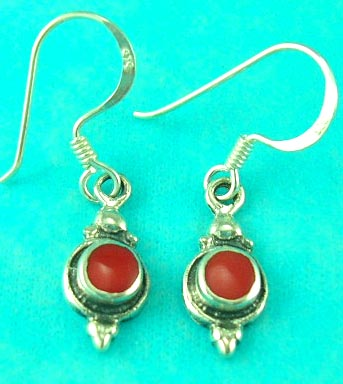 cheap jewelry store manufactured young looking red gemstone sterling silver earring