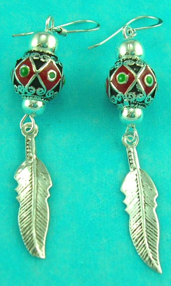 custome whoelsale jewelry shop manufactured feather style peace sterling silver earring
