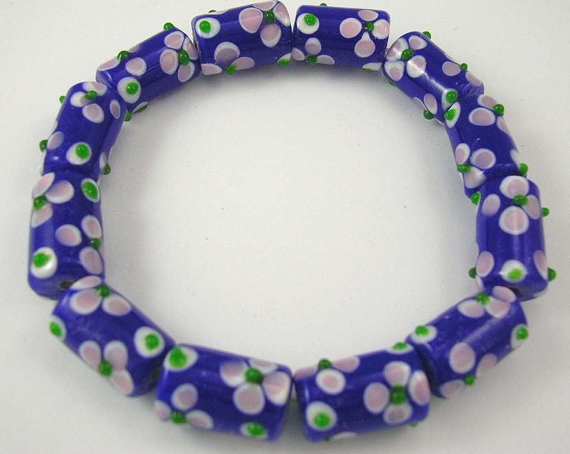 inexpensive wholesale jewelry shop bring blue bracelet with flower pattern