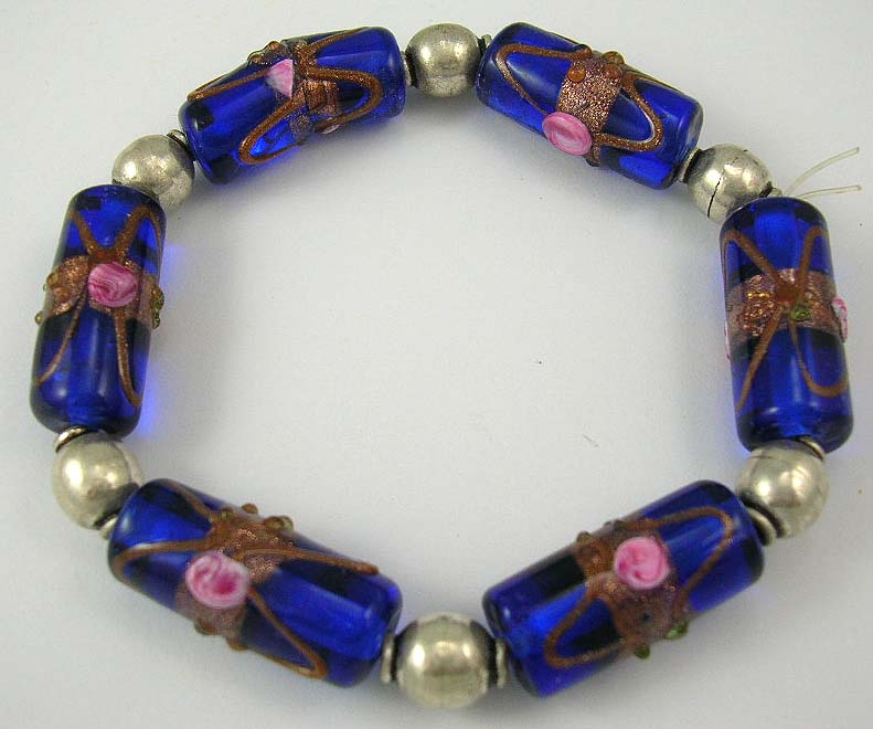 design jewelry online supplies dark blue bracelet with beaded decoration