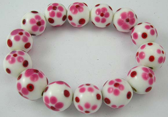 international jewelry store supplies white bracelet with red flower pattern