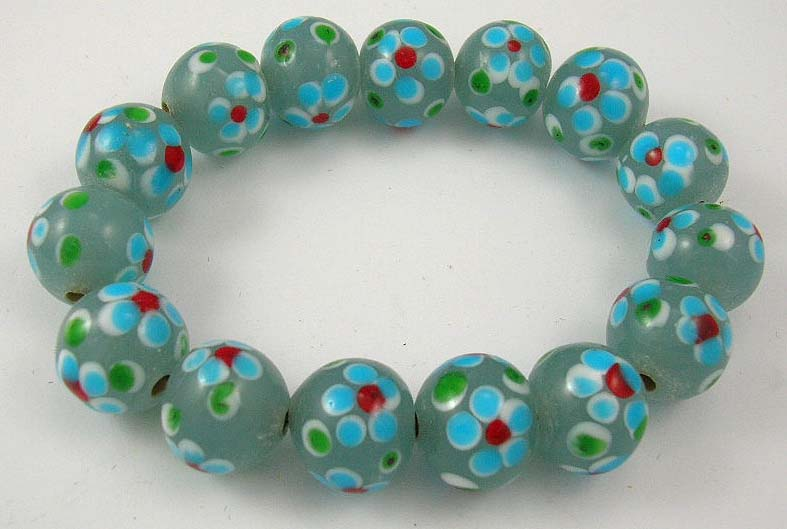 wholesale online jewelry racelet store manufactured assorted color bead bracelet with flower pattern