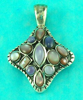 wholesale gemstone jewelry store delivers multi gemstone inlaid pendent in unique shape
