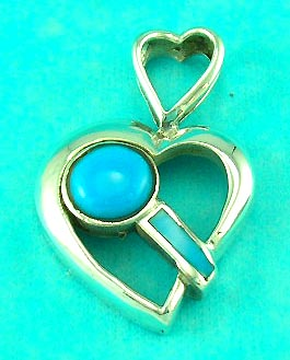 fashion costume jewelry shop delivers heart shaped pendant inlaid with aqua gemstone, great for valentine gifts