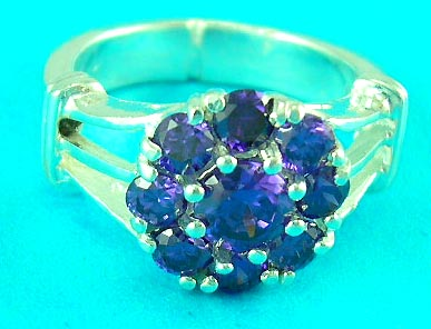 wholesale jewelry dealer display purple man-made diamond ring with unique design