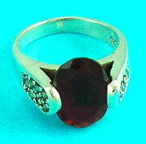 wholesale cheap jewelry shop presents gemstone fashion ring with gemstone inlaid in red