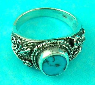 top online gem jewelry wholesale supplies round turquoise silver ring along with nice decoration on the side