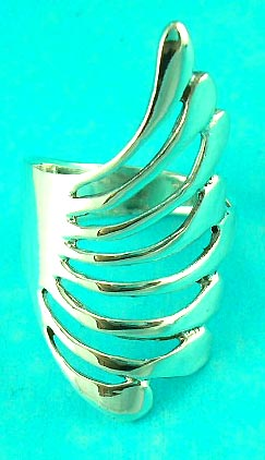 superior quality cheap jewelry fashion store supplies feather styled silver ring