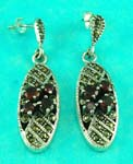 wholesale jewelry manufacture oval shaped marcasite stone along with cz inlaid earring