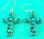 antique jewelry wholesale presents sterling silver aqua gemstone cross earring